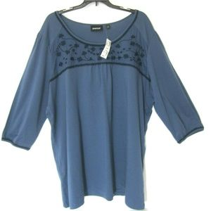Avenue 26 28 Blue T Shirt Top Embroidered NEW 4X